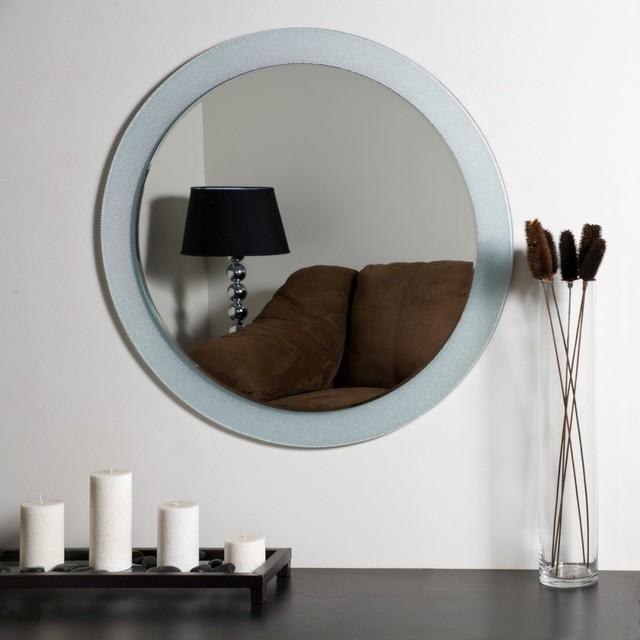 Zoe Modern Frameless Bathroom Mirror - 27.6 diam. in. modern-bathroom-mirrors