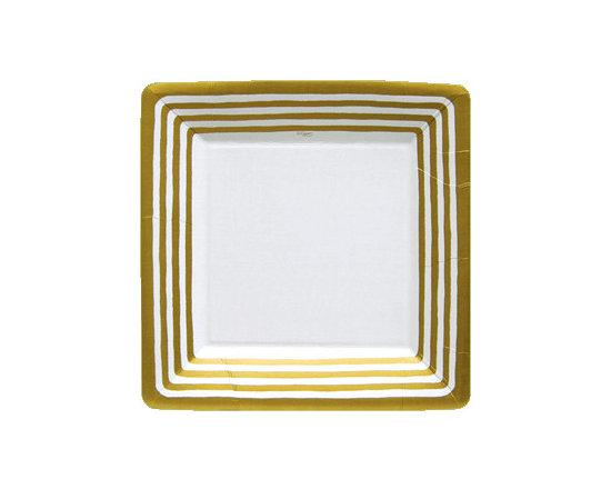 Paper Dinner Plates, Gold Stripe Border -
