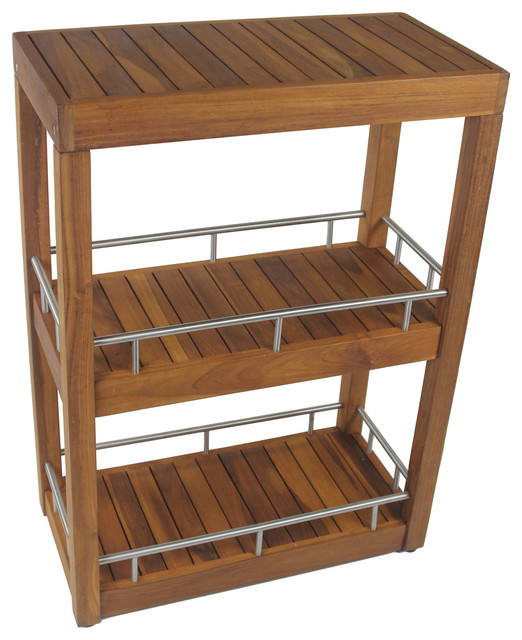 Three Tier Bathroom Stand: Three Tier Teak & Stainless Bath Stand
