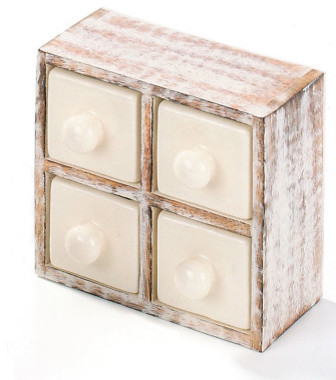 Rustic Wooden Spice Rack With Ceramic Drawers - Eclectic - Spice Jars And Spice Racks - by ...