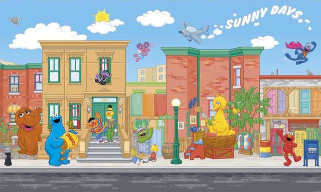 Sesame street elmo big bird giant wallpaper accent mural for Elmo wall mural
