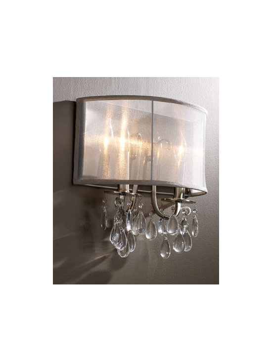 "Shaded Chandelier Sconce - The ""Shaded Chandelier Sconce"" is designed with a silver, silk shade and European oyster crystals.  It feels elegant and oh so chic!Overall dimensions: 14""W x 6""D x 13""T."