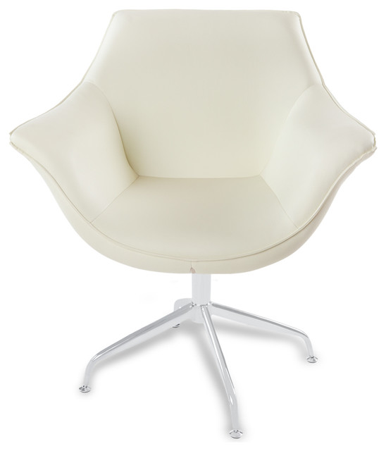 Mala modern swivel occasional chair cream contemporary for Modern swivel accent chair