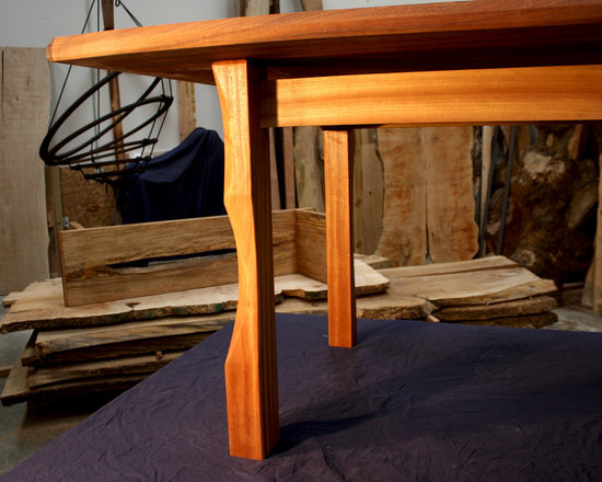 Sapele & Y. Cedar Dining Table - NK Woodworking - Seattle  -  Mortise and Tenon & carved base - Yellow Cedar warming the sleek feel of this modern & traditional fusion Sapele table.