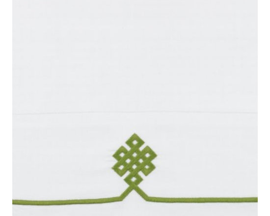 Serena & Lily - Grass Gobi Embroidered Pillowcases - Featuring the same graphic embroidery as our Gobi sheets, these cases make it easy to layer in extra pillows or refresh the bed. Like the sheeting, they're tailored from 300-thread-count white cotton sateen with grass embroidery.