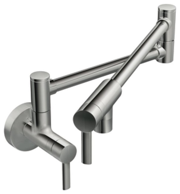 Moen S665 Pot Filler Two Handle Wall Mount Kitchen Faucet in Chrome traditional kitchen faucets