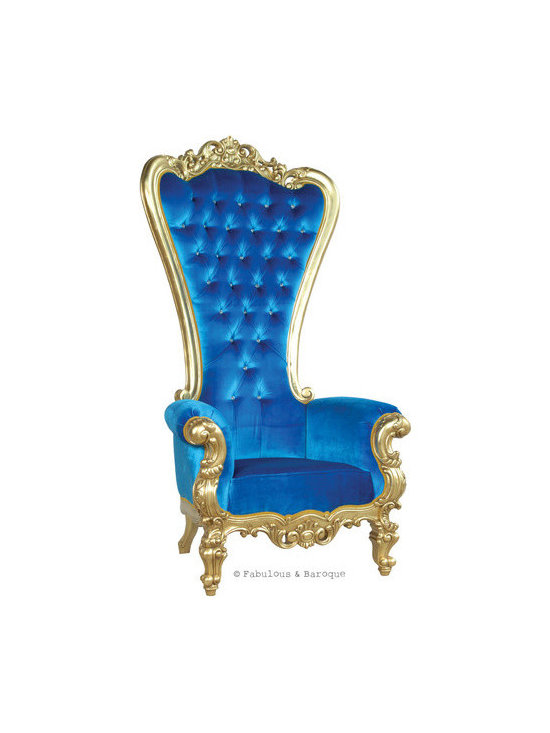 """Absolom Roche Chair - Gold & Royal Blue Velvet - Feast your eyes upon the decadence and true luxury of Fabulous & Baroque's ultimate collection of furniture! The Absolom Roche chair, exclusive to Fabulous & Baroque, is the first in a collection of fine furniture which sets the bar beyond imagination. This sumptuous chair is nothing short of regal as it holds court no matter where you decide to feature it. Measuring 72"""" in height, the Absolom Roche commands its presence and appreciation for its true beauty. Handcrafted from mahogany and finished in gold leaf, upholstered in royal blue velvet and tufted. Want a different finish or fabric? We can do lacquer, gold or silver leafing and choose from an array of upholstery and tufting to make this chair truly your own."""