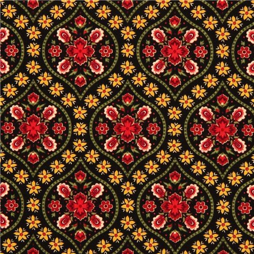black designer fabric with red gold flower ornaments fabric