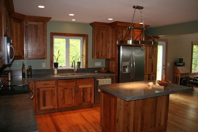 Antique chestnut cabinets traditional kitchen for Chestnut kitchen cabinets
