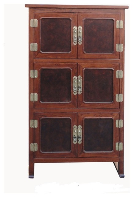 Tall Korean Burl Wood Inlay Multiple Shelves Storage Cabinet - Asian - Accent Chests And ...