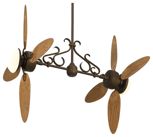 Country - Cottage Casa Nova Bamboo Dual Head 2-Light Outdoor Ceiling Fan traditional-ceiling-fans