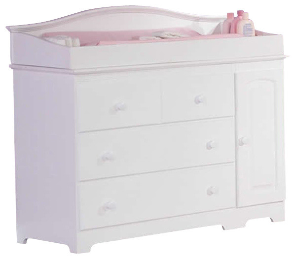 Atlantic Furniture Windsor 3 Drawer Changing Table in White-Changing Table with transitional-changing-tables