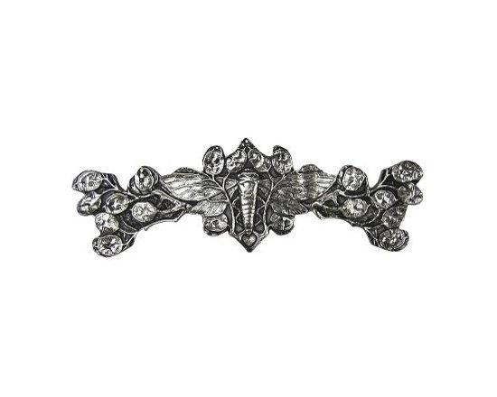 """Inviting Home - Cicada Pull (bright nickel) - Hand-cast Cicada Pull in bright nickel finish; 4""""W x 1-1/4""""H; Product Specification: Made in the USA. Fine-art foundry hand-pours and hand finished hardware knobs and pulls using Old World methods. Lifetime guaranteed against flaws in craftsmanship. Exceptional clarity of details and depth of relief. All knobs and pulls are hand cast from solid fine pewter or solid bronze. The term antique refers to special methods of treating metal so there is contrast between relief and recessed areas. Knobs and Pulls are lacquered to protect the finish."""