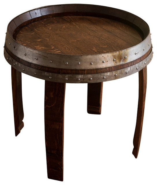 Banded wine barrel side table 22 tall farmhouse side for Small tall end table