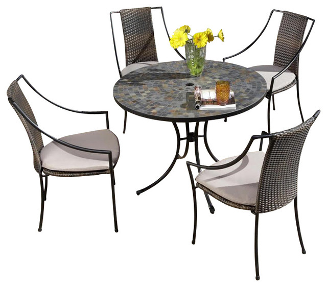 Home Styles Stone Harbor Table & 4 Laguna Chairs in Black and Slate transitional-patio-furniture-and-outdoor-furniture