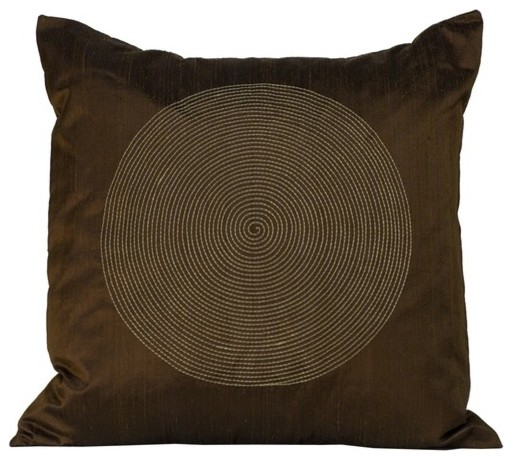 Spiral Square Decorative Pillow in Chocolate modern-bed-pillows