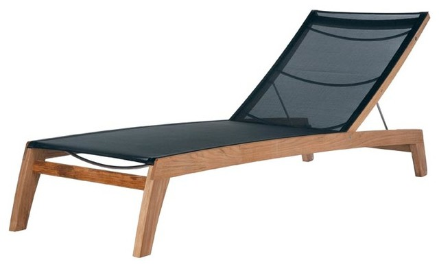 Barlow Tyrie Horizon Teak Lounger, Charcoal modern-outdoor-chaise-lounges