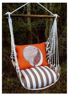 Magnolia Casual Chocolate Shell Hammock Chair and Pillow Set modern-hammocks