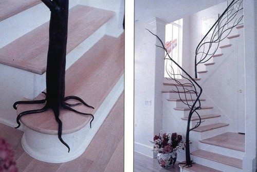 organic tree banister eclectic staircase