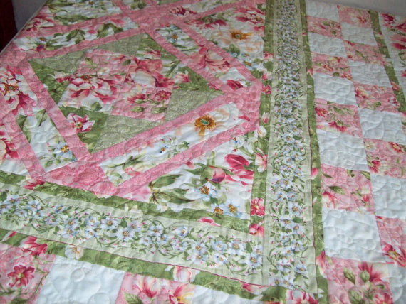 Peony Garden Quilt Twin Size By Pamela Quilts