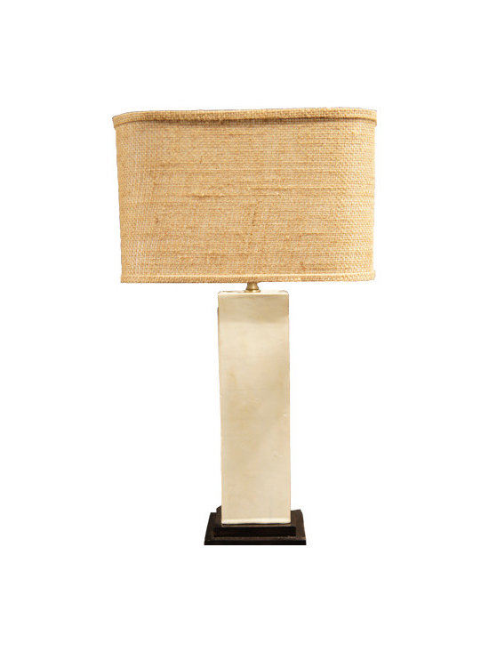 White Pillow on Dark Wood Base Lamp - This soothingly chic lamp features a fabulously textured linen shade and unexpected off-white Lucite base. We love how the modern and clean look of this lamp would work in nearly any room with any décor. It's a neutral piece that's anything but boring.
