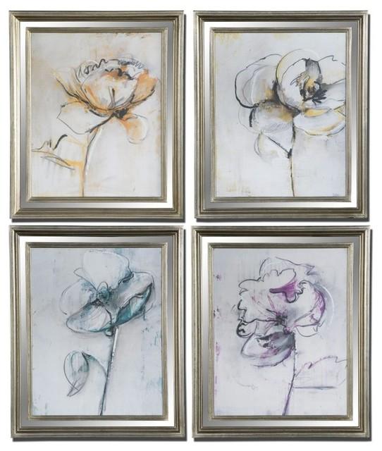 www.essentialsinside.com: jesters floral wall art, set of 4 contemporary-artwork