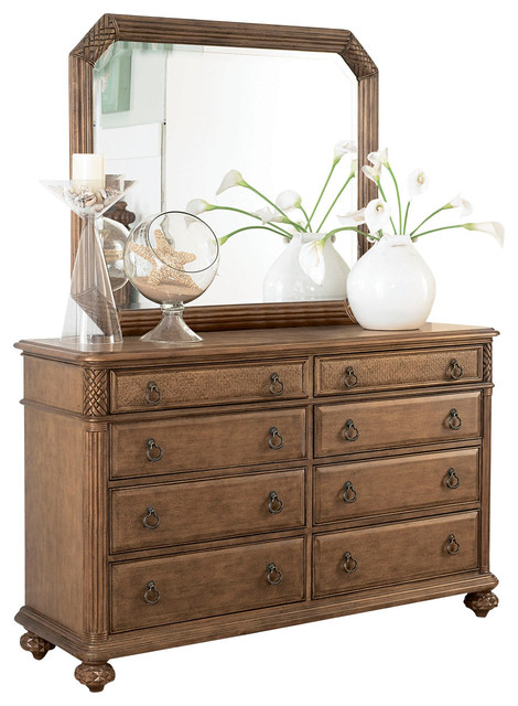 American Drew Grand Isle Dresser with Mirror in Amber traditional-dressers