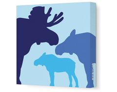 "Animal - Moose Stretched Wall Art, 12"" x 12"", Blue modern-kids-wall-decor"