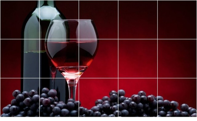 Wine Grapes Picture Wall Back Splash Tile Mural  24 x 40 traditional-tile-murals