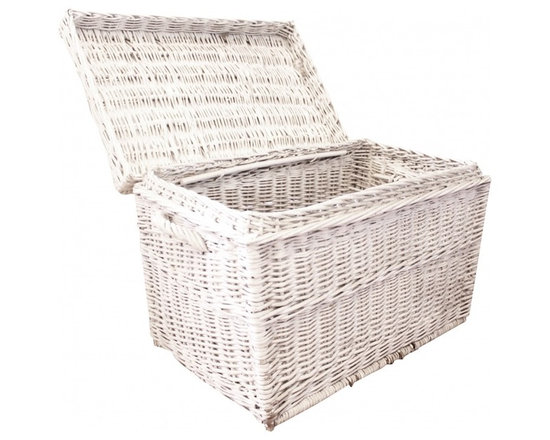 Wicker Trunk - Hinged lid.  No signs of damage beautiful vintage basket.