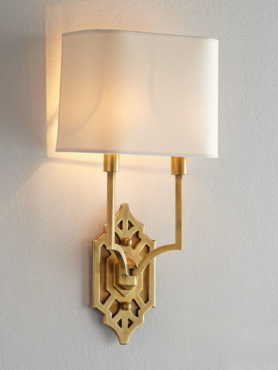 """VISUAL COMFORT - Visual Comfort """"Silhouette Fretwork"""" Sconce - I adore these brass Visual Comfort sconces. What a great way to add light to my living room. Each has two lights, which is plenty, and the fretwork detailing is traditional yet current."""