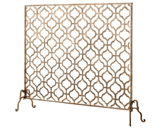 Horchow - Lexington Single-Panel Fireplace Screen - Exclusively ours. Ogee-patterned fireplace screen romances the fireplace with texture and adds an intriguing play of light and shadow to the mix. Handcrafted of iron. Hinged feet. Mesh backing; use with real or gas logs. Hand-painted burnished-gol...
