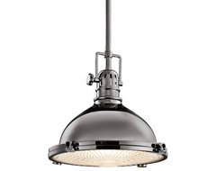 Kichler Industrial 12-Inch Retro Pendant with Fresnel Glass Diffuser eclectic-pendant-lighting