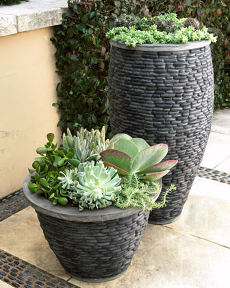 River Stone Planters contemporary outdoor planters