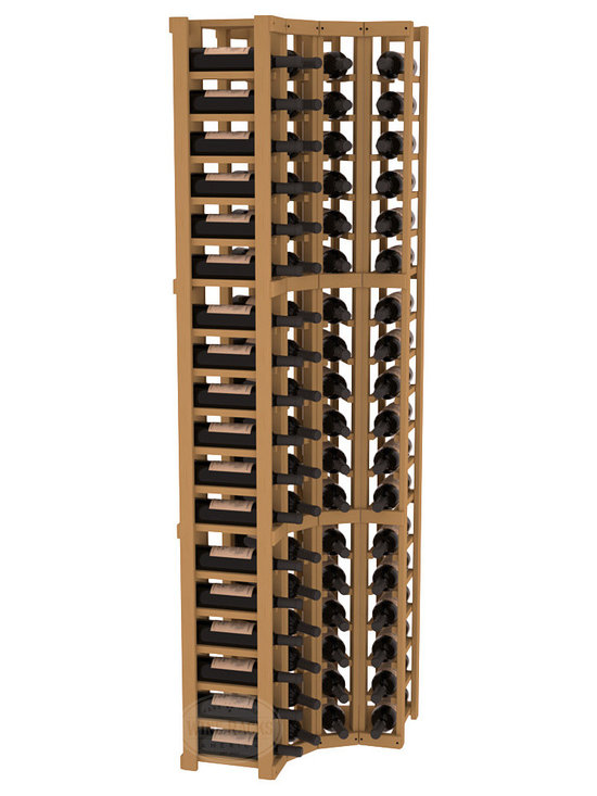 Wine Racks America® - 4 Column Wine Cellar Corner Kit in Pine, Oak Stain - Get the most storage in your wine cellar with unique corner wine racks. We construct every rack to our industry-leading standards and back them up with our lifetime warranty. Designed with emphasis on functionality, these corner racks fit seamlessly into our modular line of wine racks.