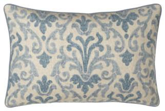 "Jane Wilner Designs Blue Damask Pillow, 14"" x 21"" traditional-decorative-pillows"