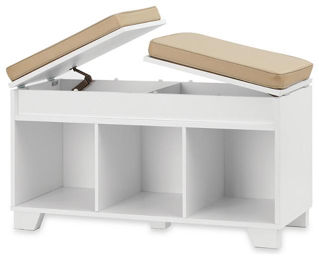 real simple split top bench storage unit white. Black Bedroom Furniture Sets. Home Design Ideas