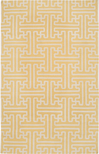 Yellow and Ivory Geometric Patterned Rug modern-rugs