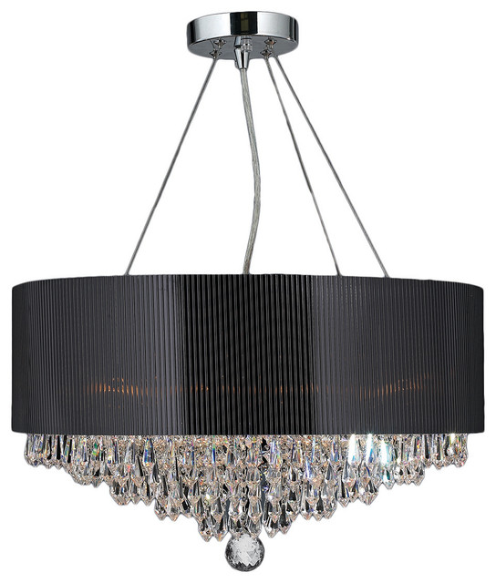 Gatsby 8-Light Chrome Finish and Crystal Chandelier 20u0026quot; Black Acrylic Drum Shade - Contemporary ...