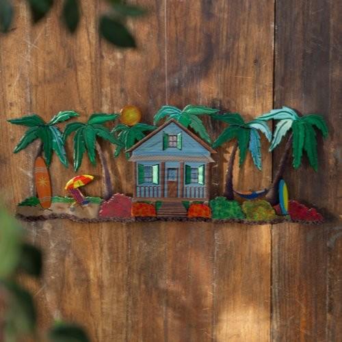 Beach hut indoor outdoor light reflective wall art for Beach hut decoration items