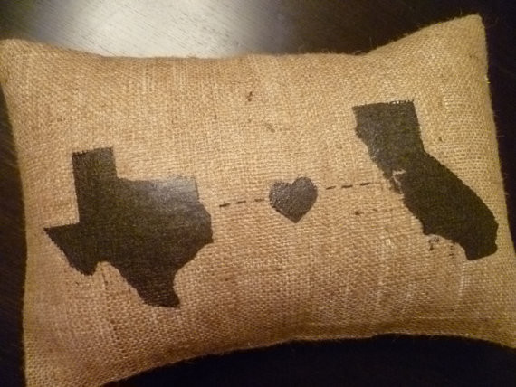 """Personalized """"States"""" Burlap Pillow Cover By Aislinn Creations contemporary-decorative-pillows"""