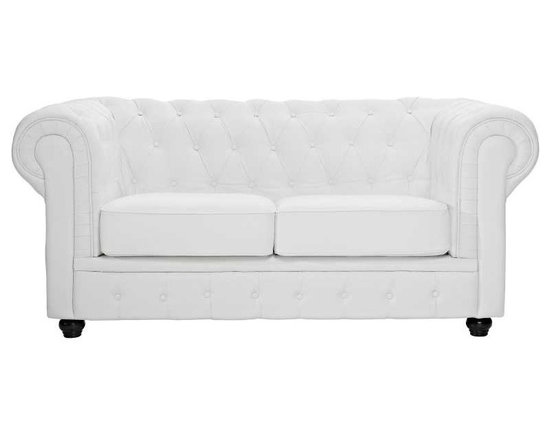 Modway - Chesterfield Loveseat in White - There is something very recognizable about the Chesterfield Armchair. While fashioned with a tufted back, and large rounded arms, the most distinctive aspect is arguably the deep buttons. Their careful positioning throughout helps portray both an aristocratic and settled feel at the same time. First named in 1900 after the Earl of Chesterfield who commissioned it, recognize the ability to join individual elements as you completely inspire your room.