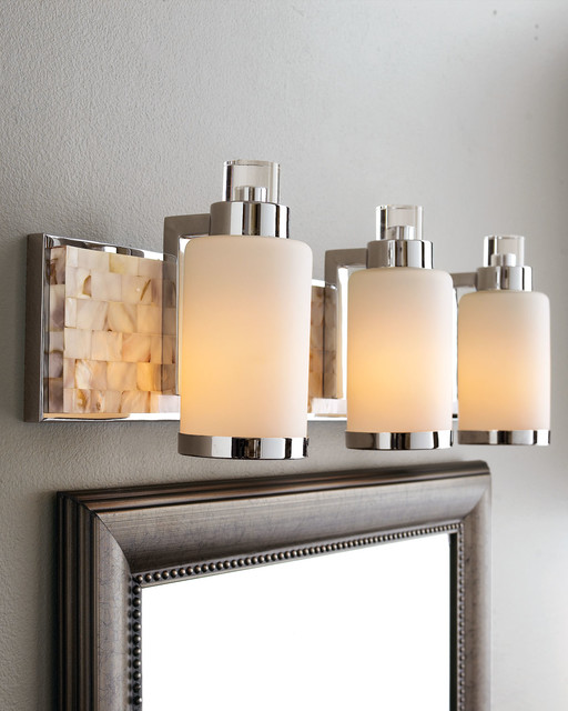 Vanity Lights For The Bathroom : Capiz Shell Mosaic Tile Mother-of-Pearl Bathroom Vanity Light Bar - Contemporary - Bathroom ...