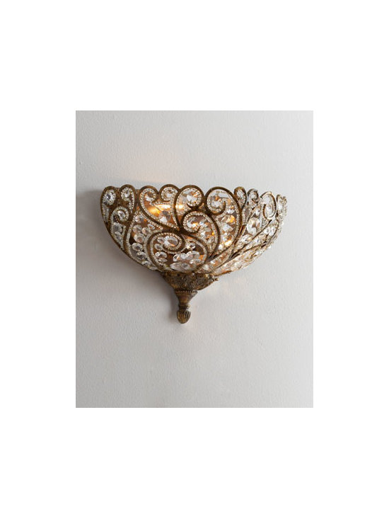 "Horchow - Elizabethan Sconce - Graceful ironwork mingles with crystal spheres for a stunning sconce to add European elegance and illumination to the room. Made of metal and Egyptian crystal. Spanish-bronze finish. Uses two 60-watt bulb. Professional installation required. 4""W x..."