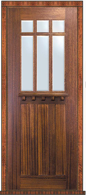 Prehung Single Door 96 Mahogany Craftsman 3 Panel 6 Lite