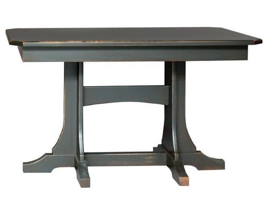 Breakfast Nook Set Trestle Table - This Amish handcrafted Trestle Table is part of our breakfast nook set and available with a variety of edge and table top options.    It is shown in a brown maple wood with a black painted distressed finish.  Other wood and finish options are available.