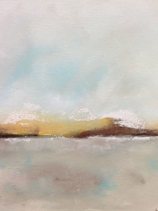 """Linda Donohue - Abstract Coastal Seascape Painting Original Art -Beach Calm 16 x 16 - This is an original acrylic painting on gallery wrapped canvas. It measures 16 x 16 x 7/8""""d. The sides are painted a sand color from the front and it's ready to hang as it is or be put into a frame."""