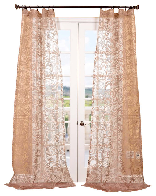 Sabrina Taupe Patterned Sheer Curtain - Contemporary - Curtains - by ...