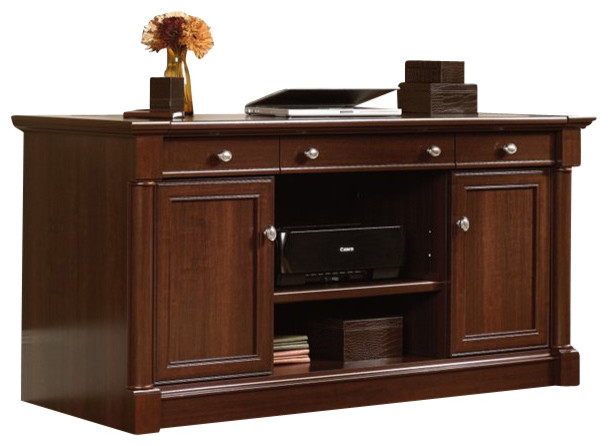Sauder Palladia Credenza in Select Cherry - Transitional - Media Storage - by Cymax