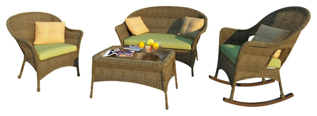 Rockport 4 Piece Traditional Wicker Sofa Set, Canvas Parrot Cushions traditional-patio-furniture-and-outdoor-furniture